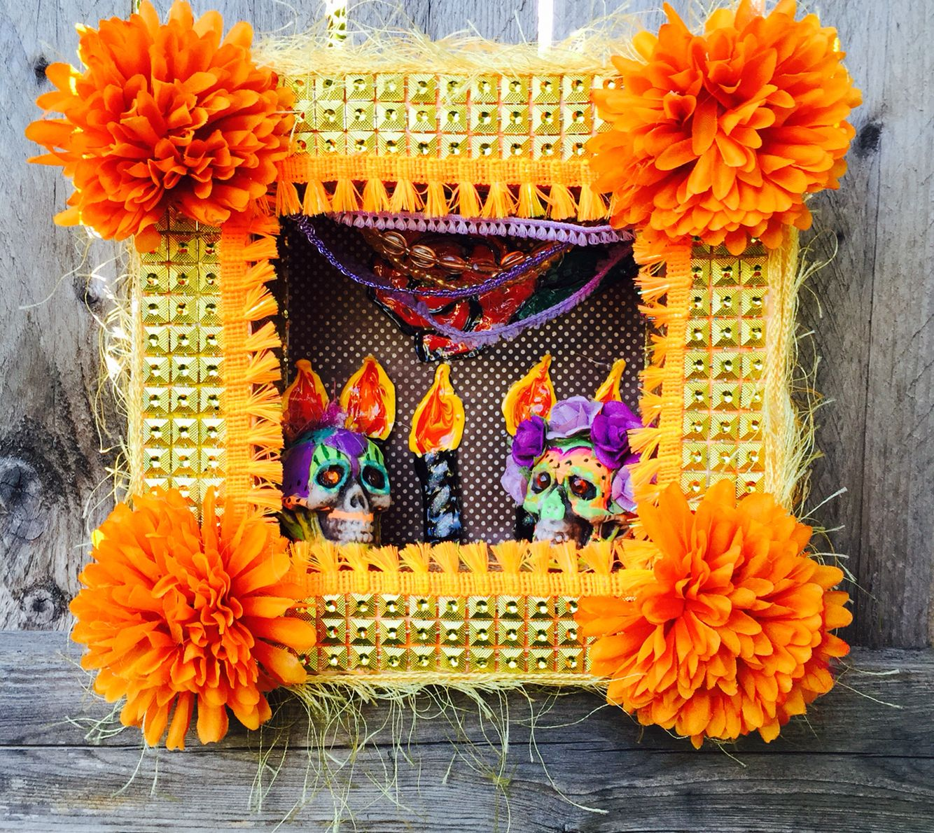 Day of the dead gold studded shrine dia de los muertos shrine wall ...