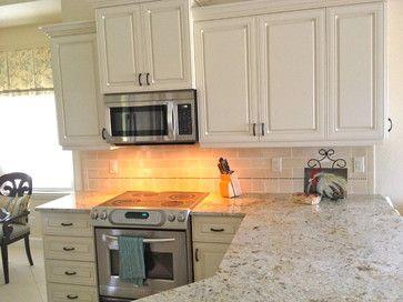 Small Naples Florida Condo Kitchen Ivory Kitchen Cabinets With Glaze