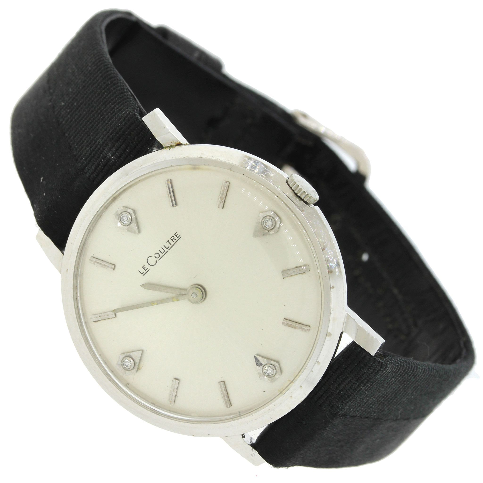 LeCoultre 14k White Gold Diamond Royale Black Leather 34mm Watch