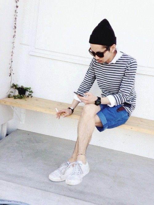 Tシャツ・カットソー「ボーダーカットソー:無印良品 」を使ったYUSUKE5のコーディネートです。WEARはモデル・俳優・ショップスタッフなどの着こなしをチェックできる  ...