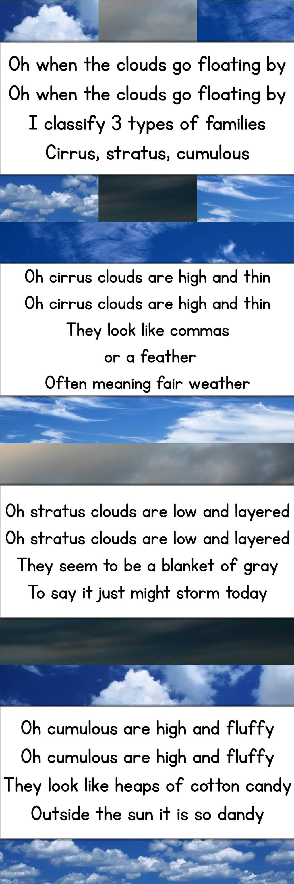 Worksheets Types Of Clouds Worksheet awesome song to teach different types of clouds free cards wk the photos twaddley worksheets here too wi