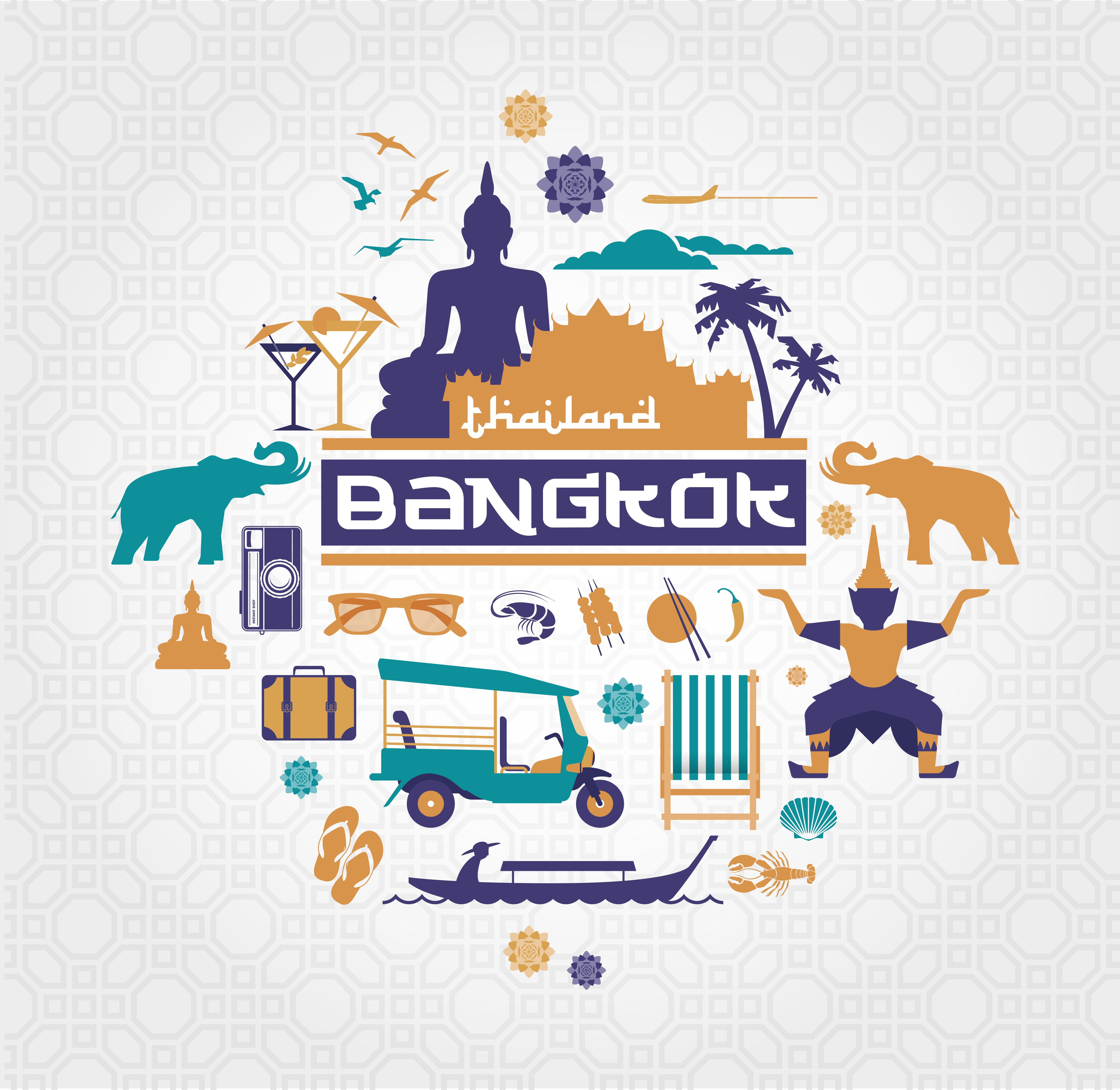 Bangkok Thailand vector set by mactrunk on Creative