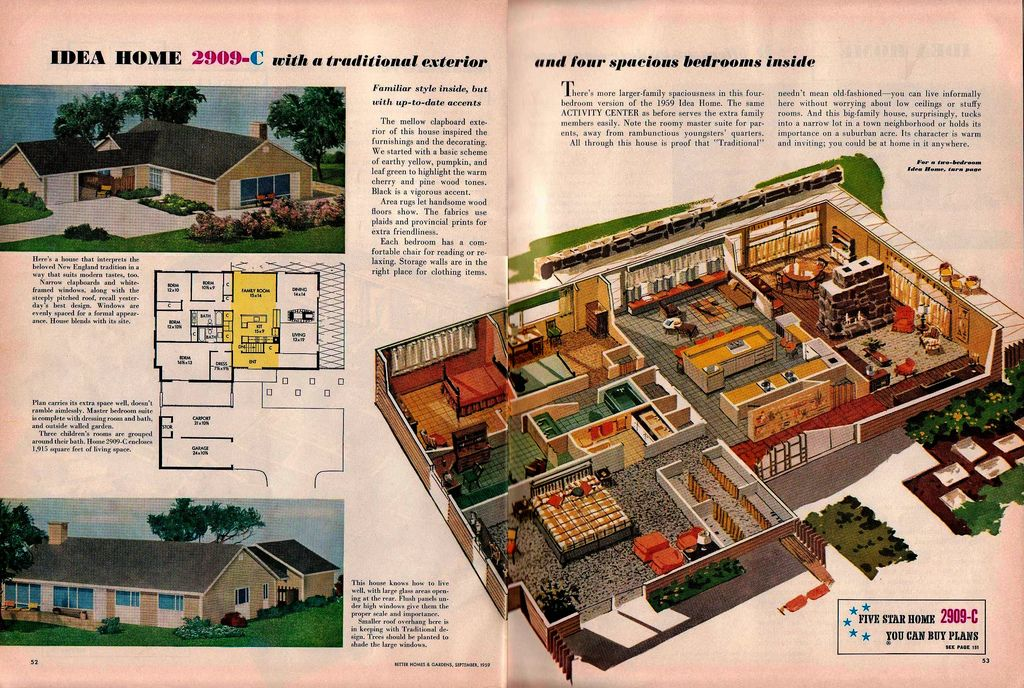 Idea Home 2909 C Vintage House Plans Better Homes And Gardens California Architecture