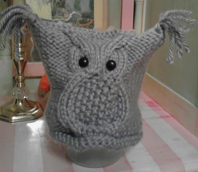 Knitted owl hat. Stuff Ive made Pinterest Knitted owl, Owl hat and...