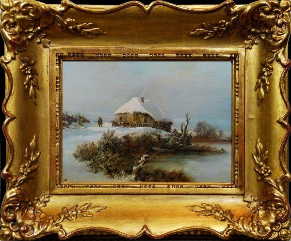 BEDŘICH PIEPENHAGEN (1791-1868)  Winter Zimní krajina s chalupou