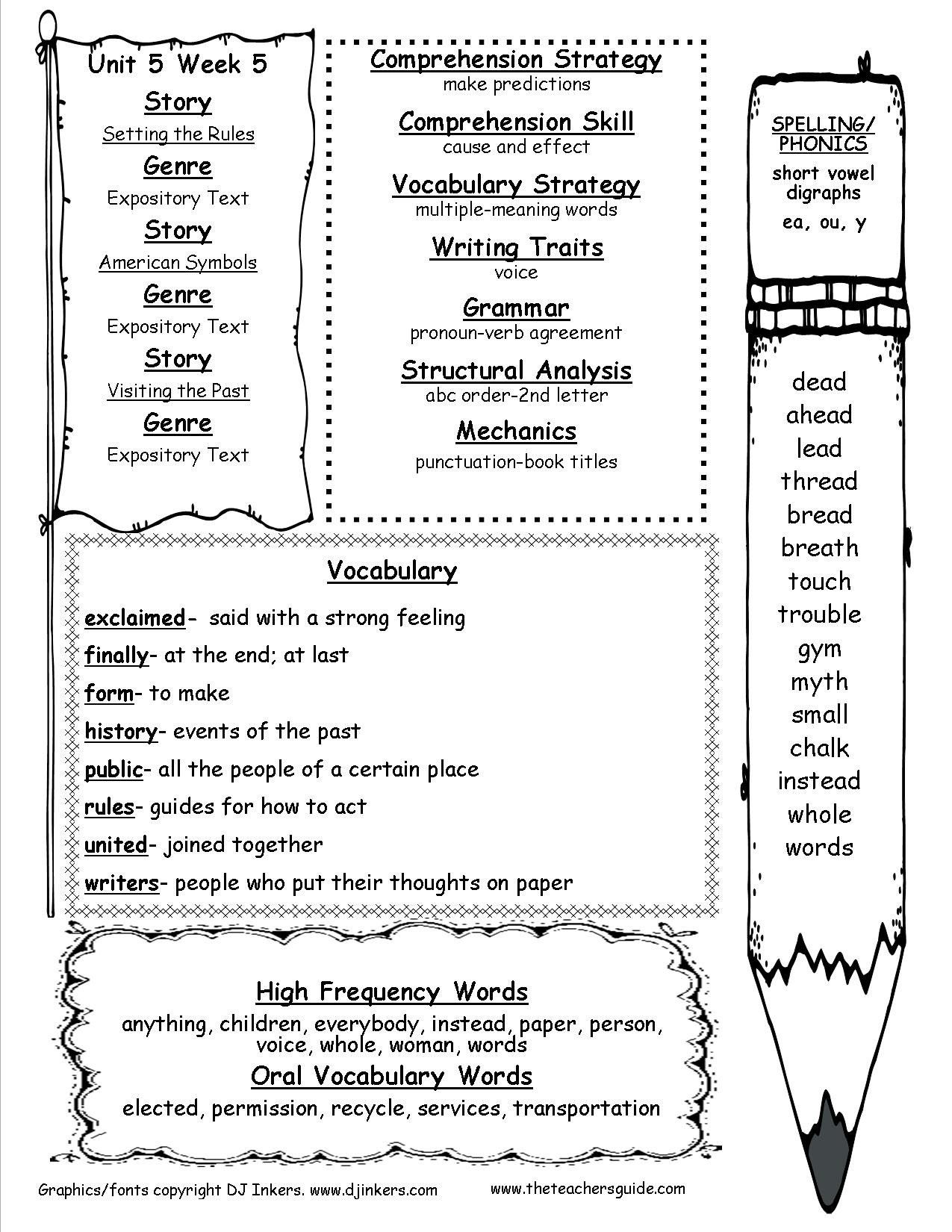 2nd Grade Comprehension Worksheet Vocabulary Words For