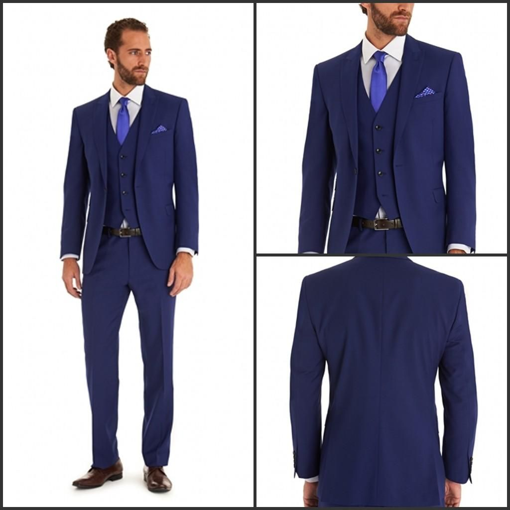 Navy Blue Blazer Tuxedos Wedding Groom Suits For Men Slim Fit ...