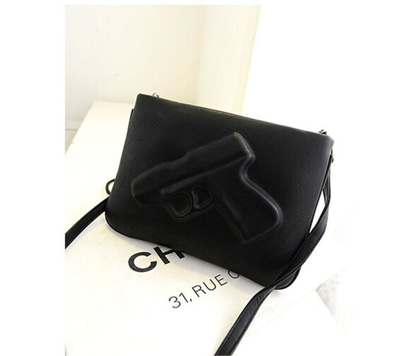 63b90acc678f New Women Designer 3D Gun Shoulder Bag Punk Rock Leather Pistol Handbag  Purse SH in Clothing