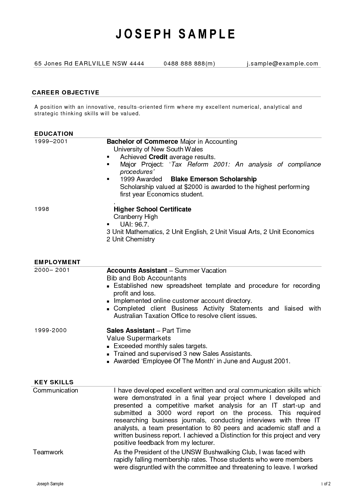 Resume Format Accountant Doc Cover Latter Sample Pinterest