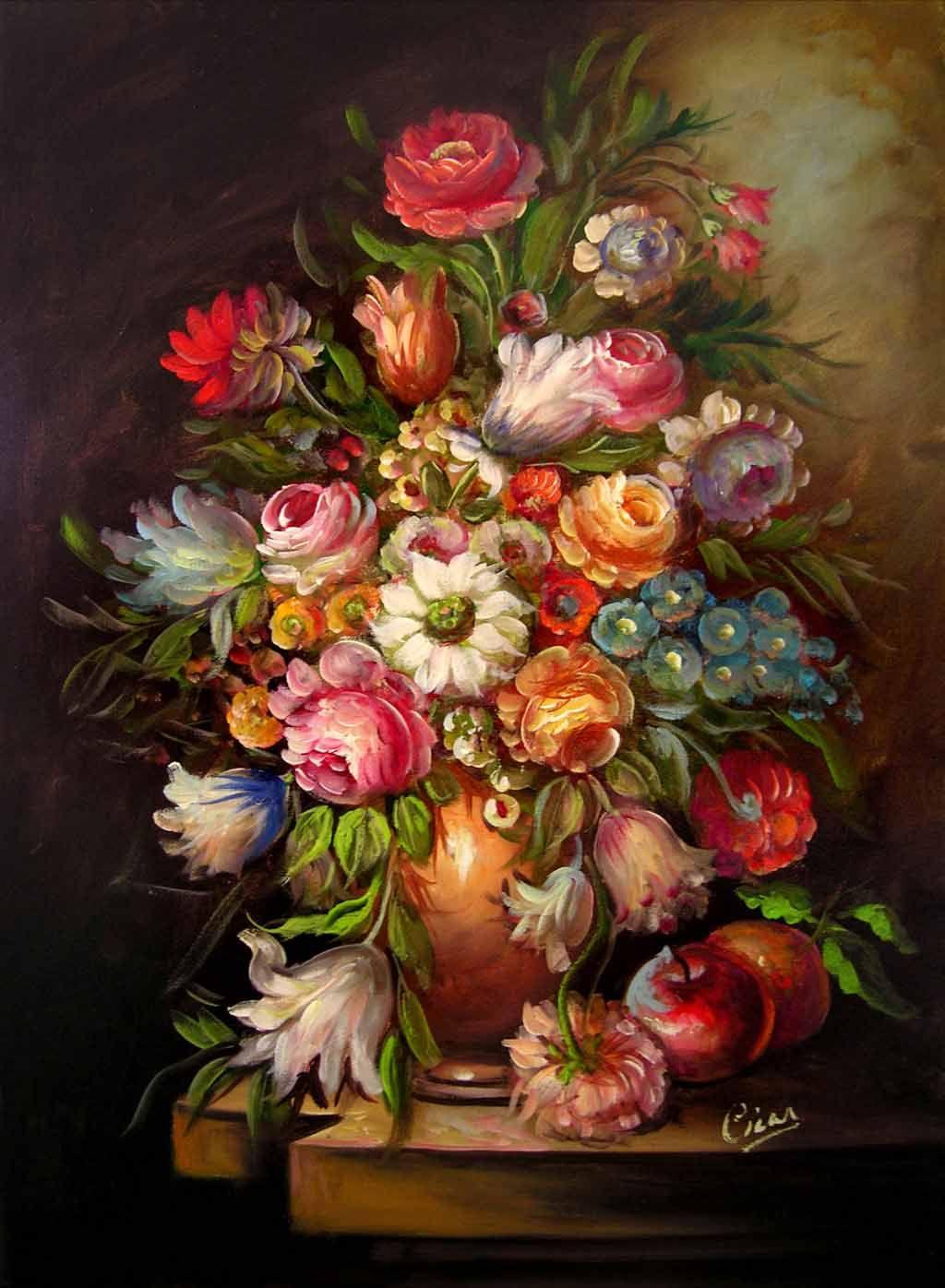 Vaso con fiori c14 quadro del pittore cicas sedna arte for Vasi di fiori dipinti