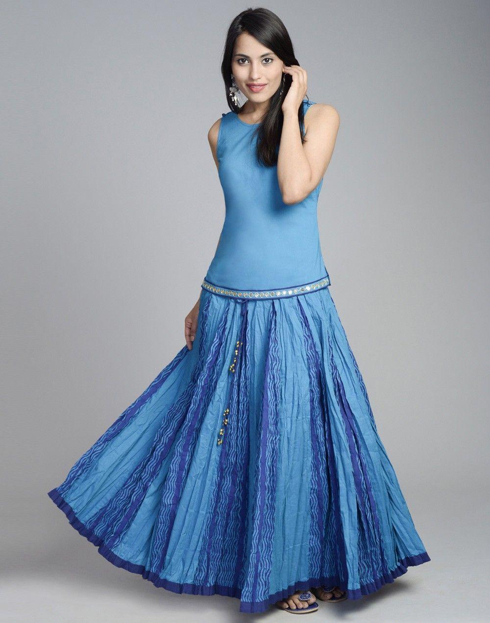 de0028804 Cotton Printed Crinkle Skirt Set – Fabindia.com Umbrella Skirt, Summer  Skirts, Long