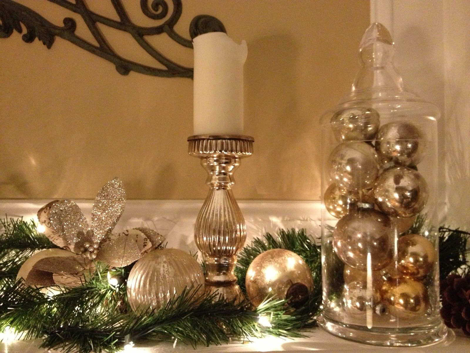 Mantel Decor For Christmas silver and gold holiday decorations |  it is a mixture of