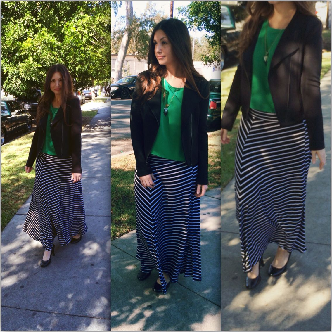 Stripped maxi from my sisters closet paired with a green blouse ...