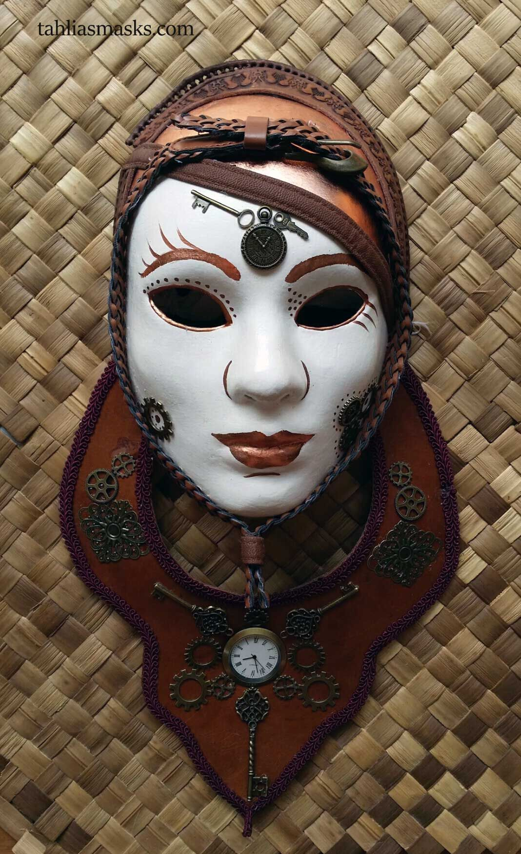 STEAM PUNK VENETIAN MASK WITH MONOCLE AND LEATHER, BRASS AND COPPER DETAILS