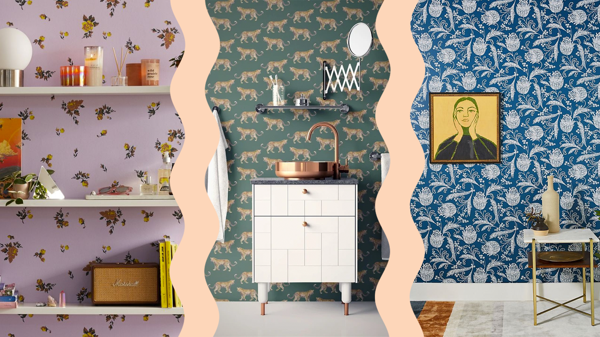 Removable Wallpapers To Beautify Your Space That Double As Cute Zoom Backgrounds Stylecaster In 2020 Removable Wallpaper Trending Decor Blue Chevron Wallpaper