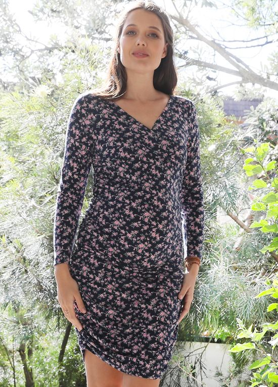 310ad50600a54 Queen Bee Arnaud Maternity Nursing Dress in Dainty Floral by Floressa