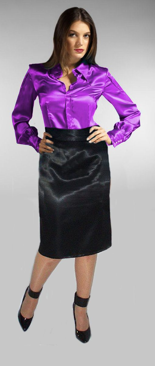 34e7a2cf Satinot. violet blouse and black skirt. | Satin and silk blouses ...