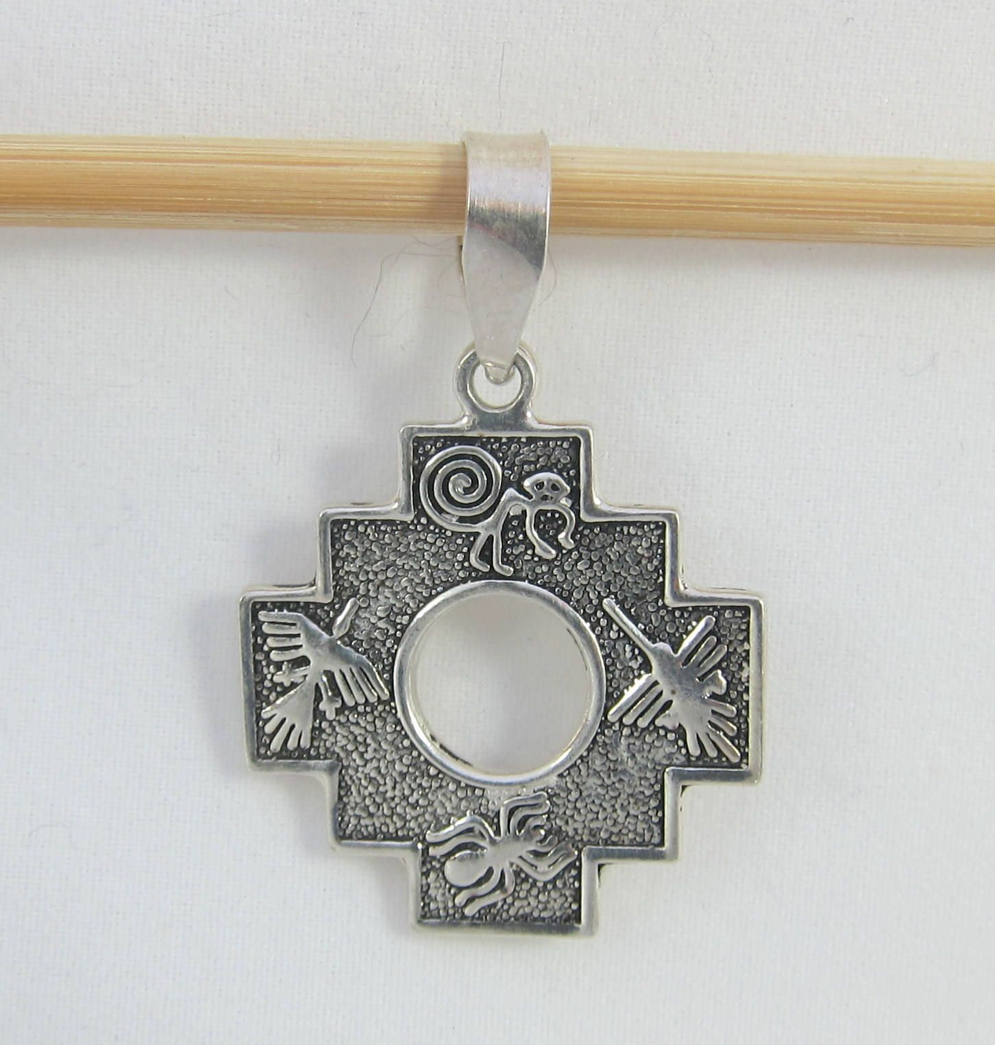 Double sided 950 silver sterling chakana inca cross pendant w double sided 950 silver sterling chakana inca cross pendant w peruan symbols by framarines on aloadofball Images