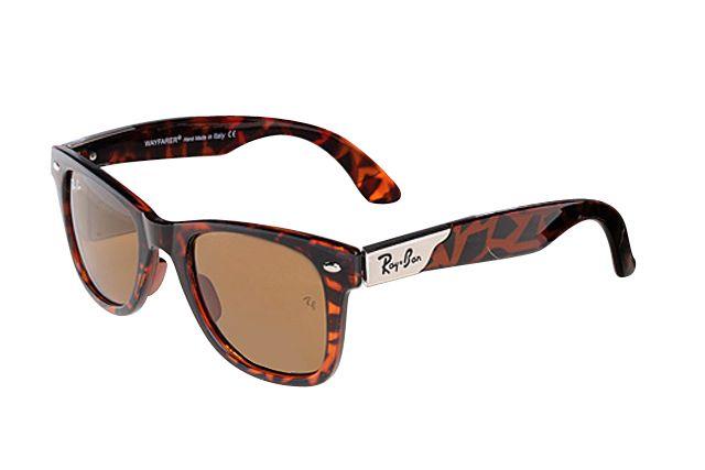 Ray Ban Wayfarer RB2132 Sunglasses Leopard Grain Frame Tawny Lens