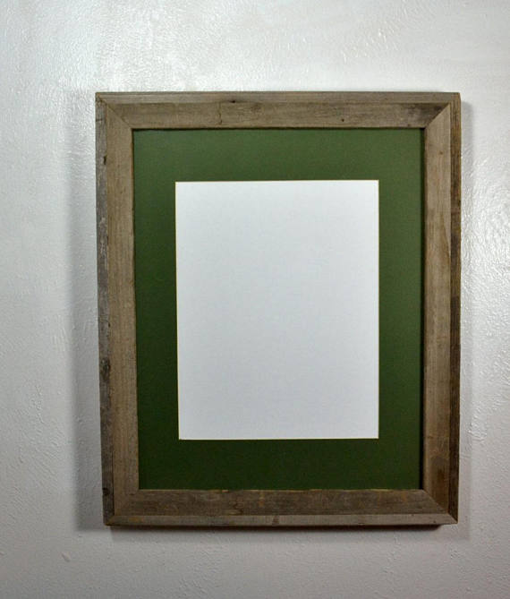 Poster Frame Gallery Style Reclaimed Wood 11x14 Green Mat Multiple