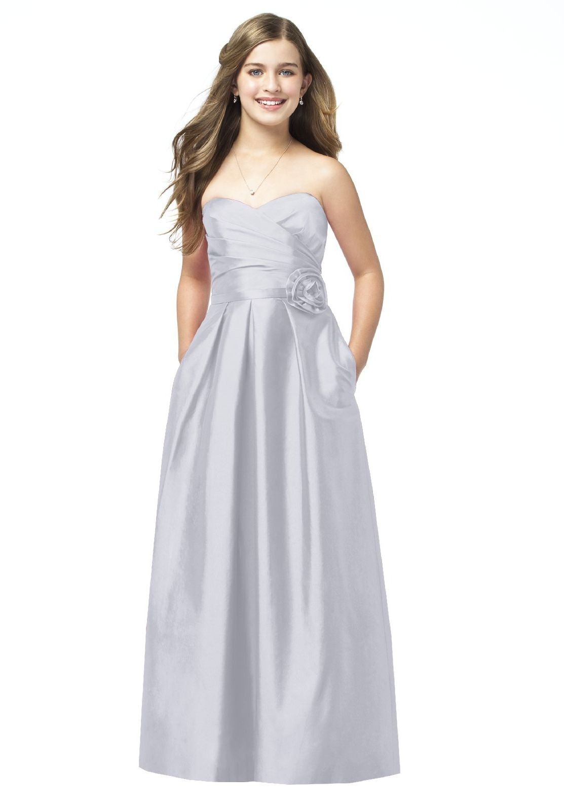 Long junior bridemaid dresses dresses satin strapless dessy collection junior bridesmaid style jr 505 is the junior version of style strapless full length dupioni dress with sweetheart pleated surplice bodice ombrellifo Gallery