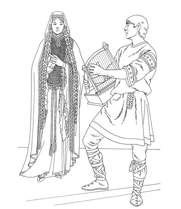 Prince Playing Harp For Princess In Middle Ages Coloring Page Middle Ages Coloring Pages Coloring Book Art