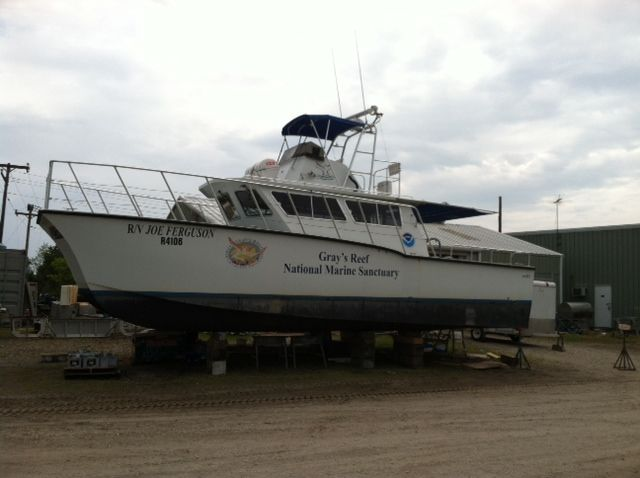 Major composite work on NOAA boat at Ross Marine