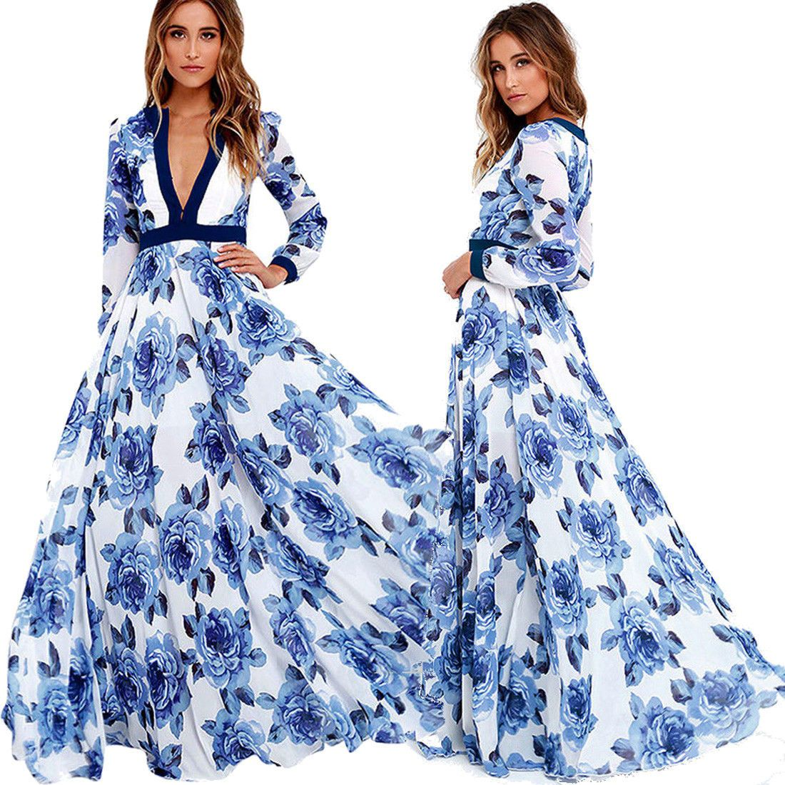 Elegant Women V-Neck Boho Floral Printed Dress Long Maxi ...