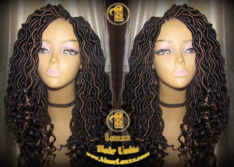 Black 1b 30 Goddess Faux Locs Wavy Curly Crochet 16 inch