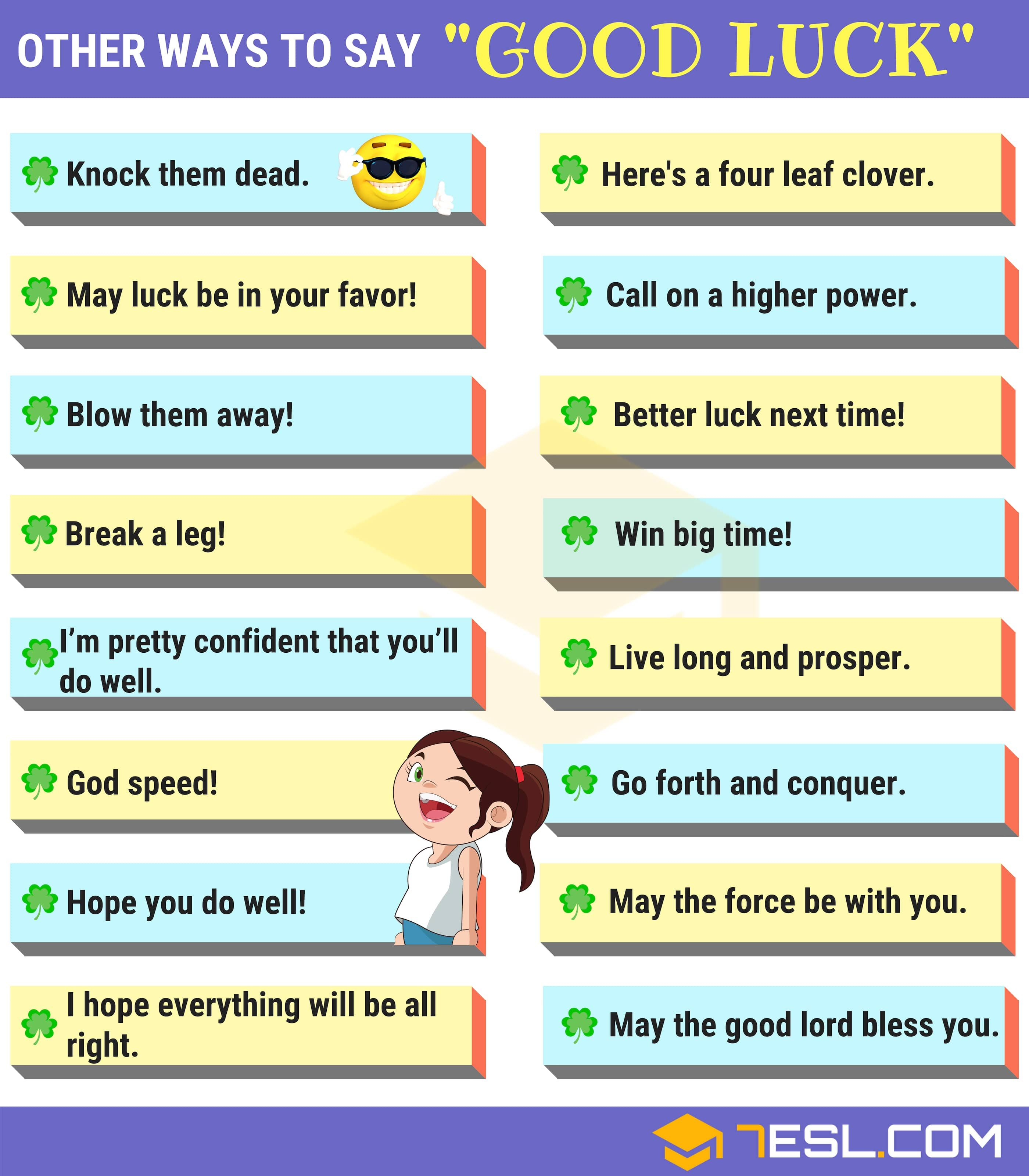 Good Luck Synonyms 50 Ways To Say Good Luck 7 E S L Learn English Words English Phrases English Vocabulary In the sense of blithe. pinterest