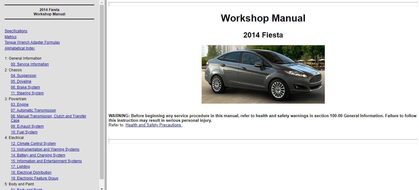 2014 Ford Fiesta Service Repair Manual Wiring Diagram Ford Fiesta Repair Manuals Manual