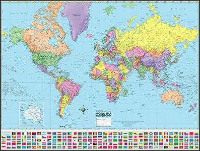 Political Map Of The World 2015.2015 World Wall Map Globe Political Style With Country Flags