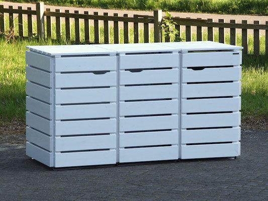 3er m lltonnenbox aus holz f r 120 l 240 l tonnen farbe deckend ge lt wei houtstockage. Black Bedroom Furniture Sets. Home Design Ideas