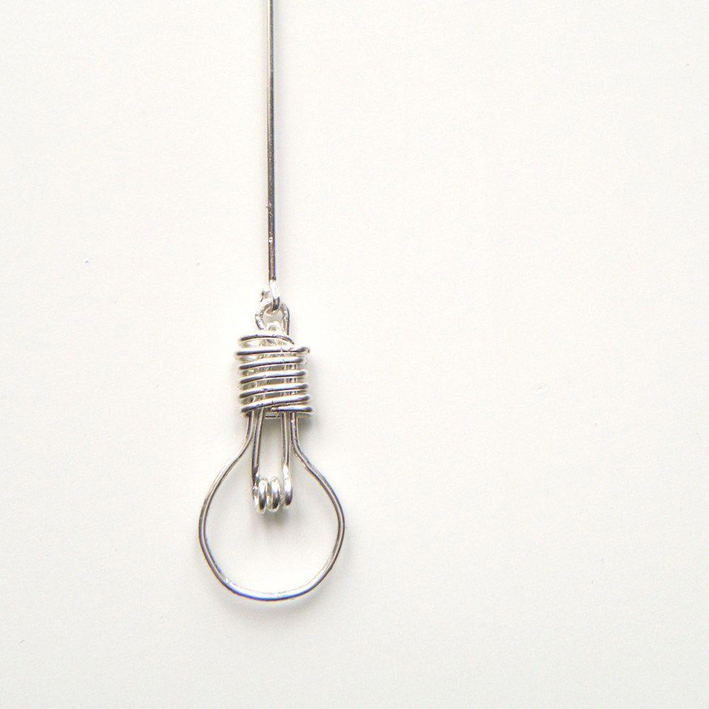 Light Bulb Necklace - Handcrafted Wire Work Pendant, Unusual Jewelry, OOAK - 'Light Bulb'. $44, via Etsy. #diyorganization