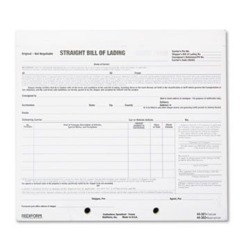 Bill Of Lading Short Form, 8 1\/2 X 7, Four-Part Carbonless, 250 - bill of lading forms
