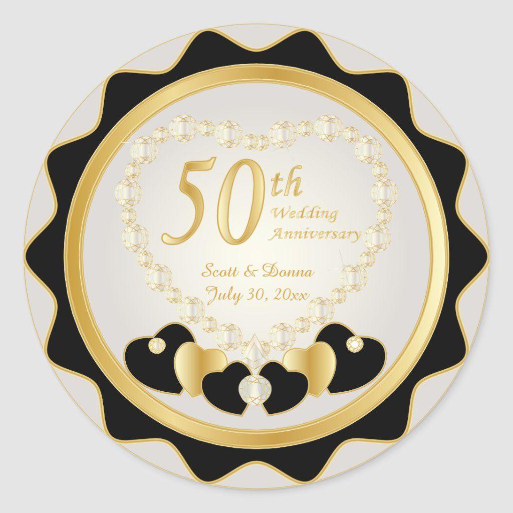 50th Golden Wedding Anniversary Classic Round Sticker Zazzle Com In 2020 50 Golden Wedding Anniversary Golden Wedding Anniversary Golden Wedding