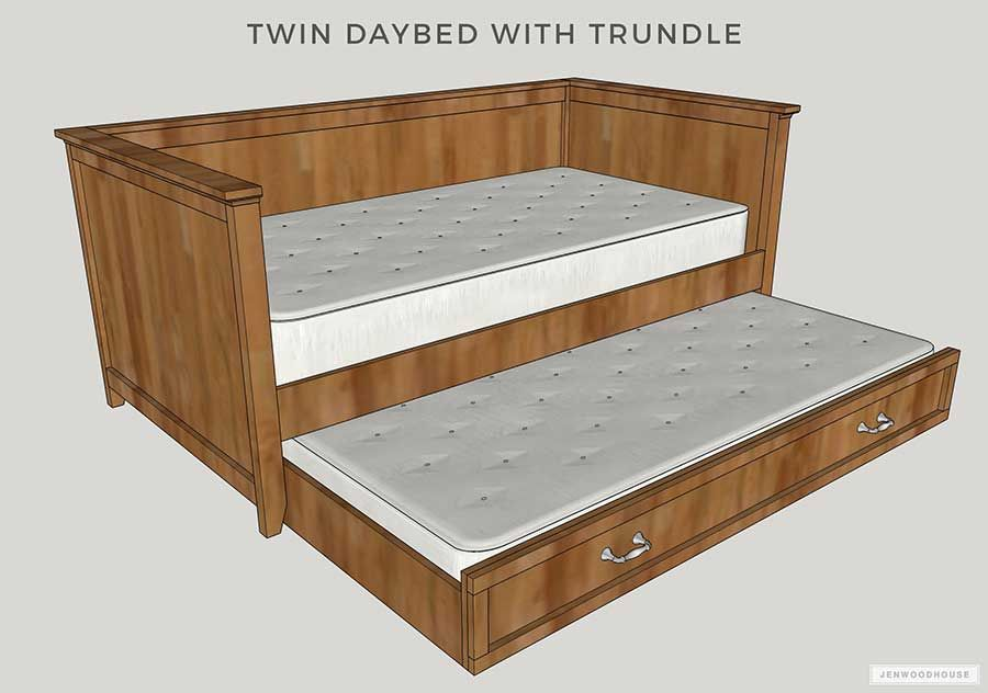 Diy Twin Daybed With Trundle Free Plans By Jen Woodhouse Daybed