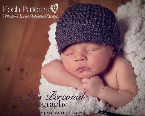 Crochet PATTERN Baby Newsboy Hat Crochet Pattern door PoshPatterns ...