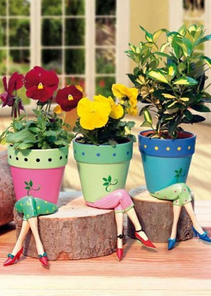 What A Funny Way To Decorate Flower Pots Handmade Art Design Container Gardening Flowers Flower Pot People Flower Pots