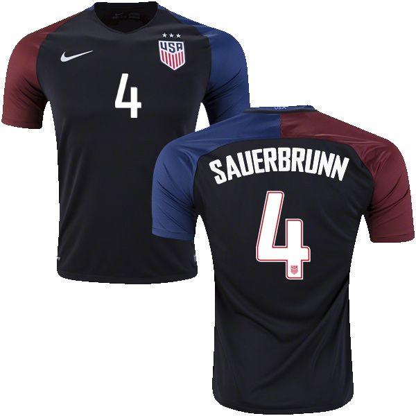 Shop Men\u0027s Becky Sauerbrunn USA Jersey - Black 2016 Away Nike Authentic  Soccer Short Shirt From Official Nike USA Soccer National Team Shop.