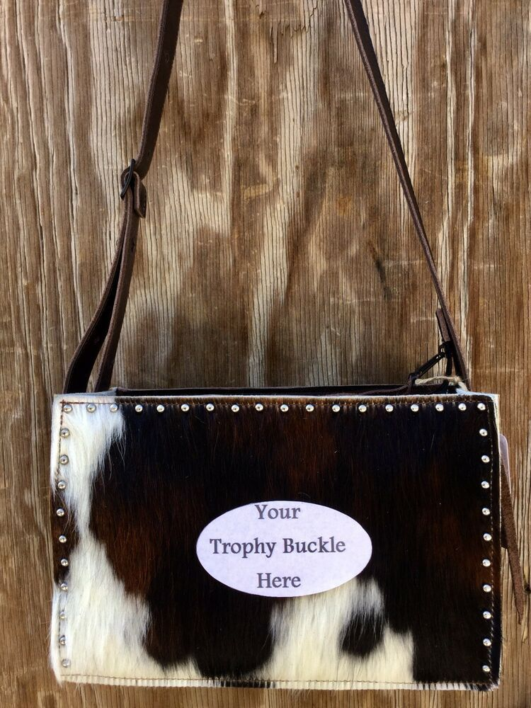 Rodeo Bucking Horse Bronc Western Leather Cowhide Handbag Purse Tote K Bar J B5