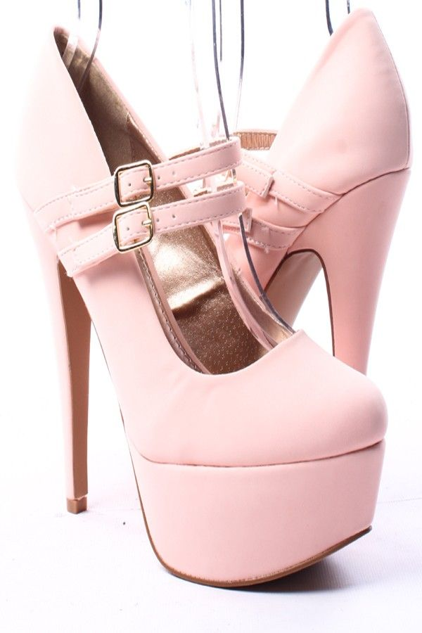 BLUSH NUBUCK FAUX LEATHER DOUBLE MARY JANE STRAP PLATFORM HEELS,$30.99 #heelpumps #heels #heelsfashion #highheels #highheelshoes #highheelsfashion #pumps_shoes #pumps_shoes #pumps #platformheels #platformshoes