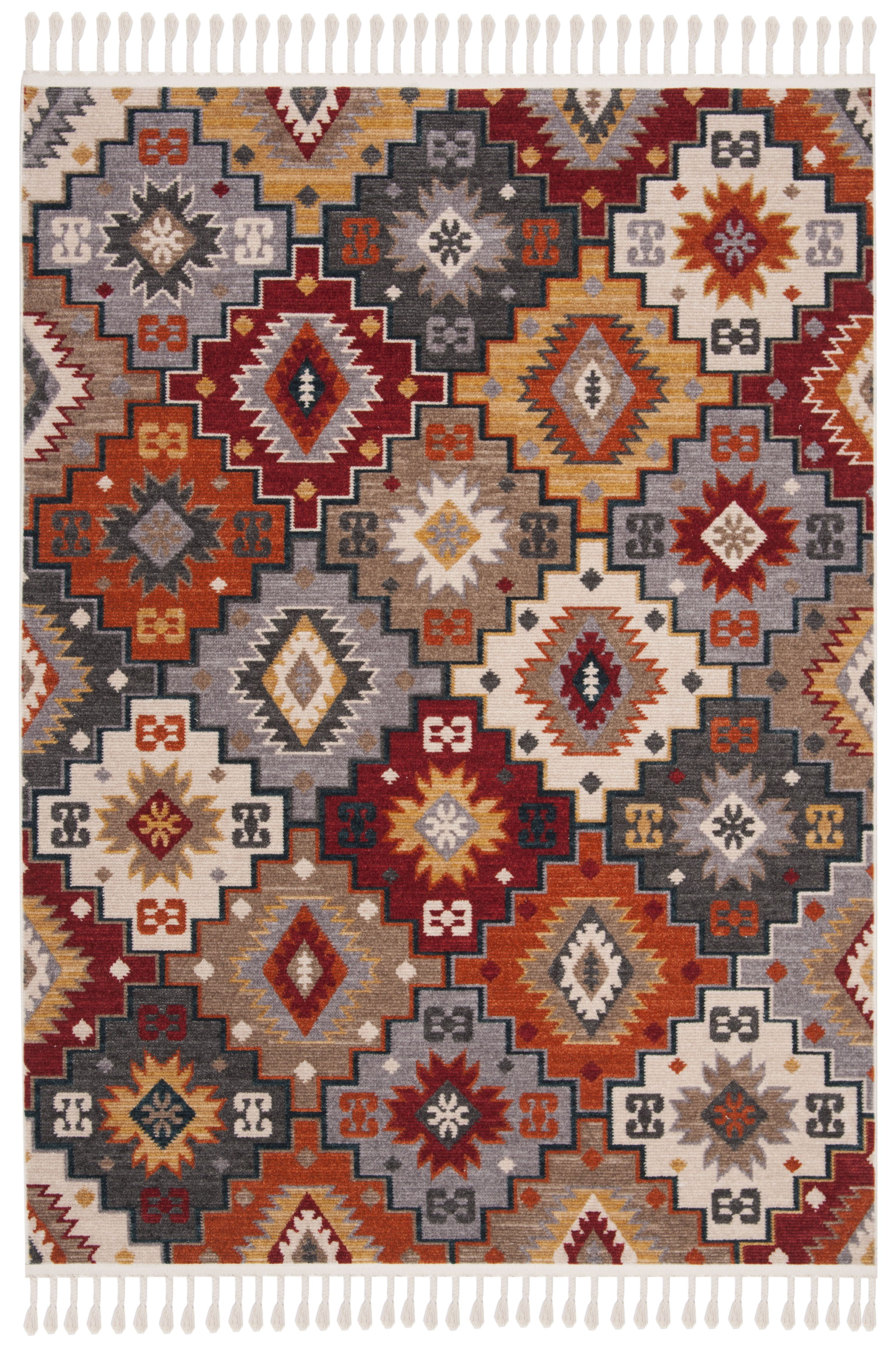 Farmhouse Rug Grey Red 5 0 X 7 3 In 2020 Farmhouse Rugs Rugs On Carpet Classic Rugs