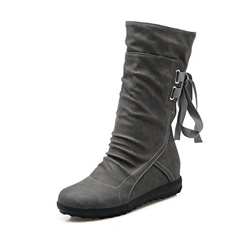 Women Ladies Faux Solid Warm Boots Ankle Boots Low Side Shoes Non-Slip (US:6.5 Black)