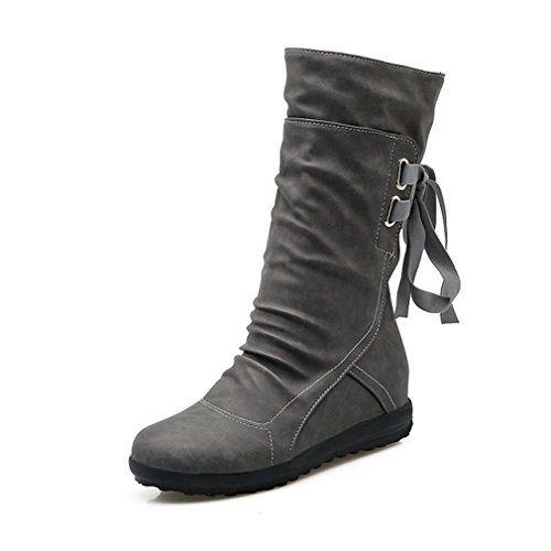 c1a8de1e9d5 Blivener Women's Winter Back Lace Up Boot Mid Calf Snow Boots Grey ...
