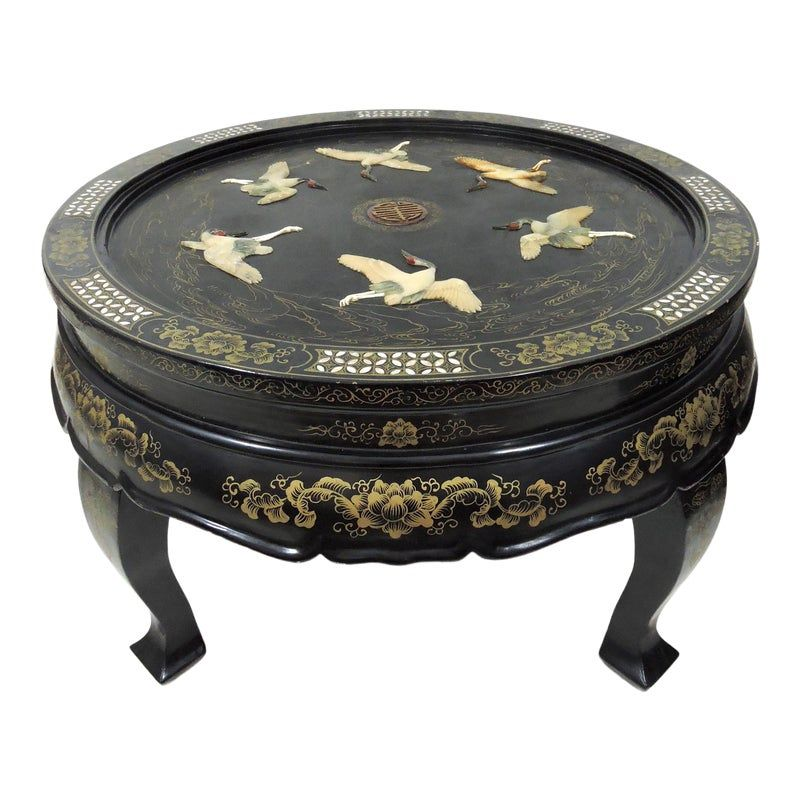 Antique Chinese Six Red Crowned Cranes Folding Black Lacquer And