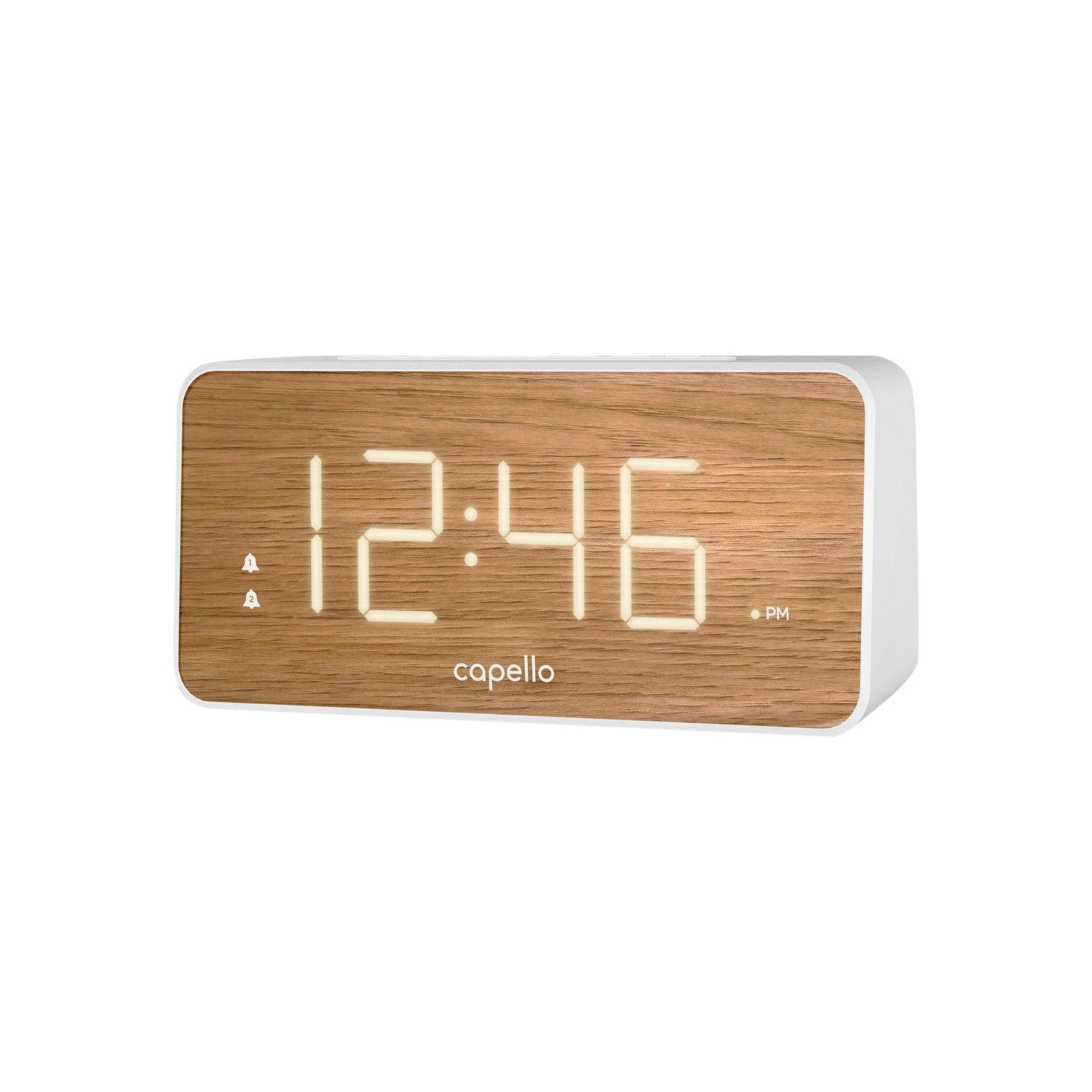 Extra Large Display Digital Alarm Clock White Pine Capello Modern Alarm Clock Digital Alarm Clock Alarm Clock