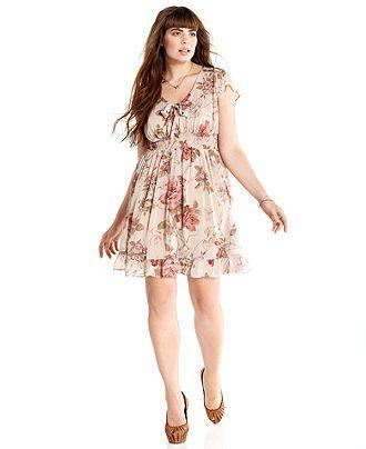 American Rag Plus Size Dress, Short-Sleeve Floral-Print Empire - Plus Size Dresses - Plus Sizes - Macy's