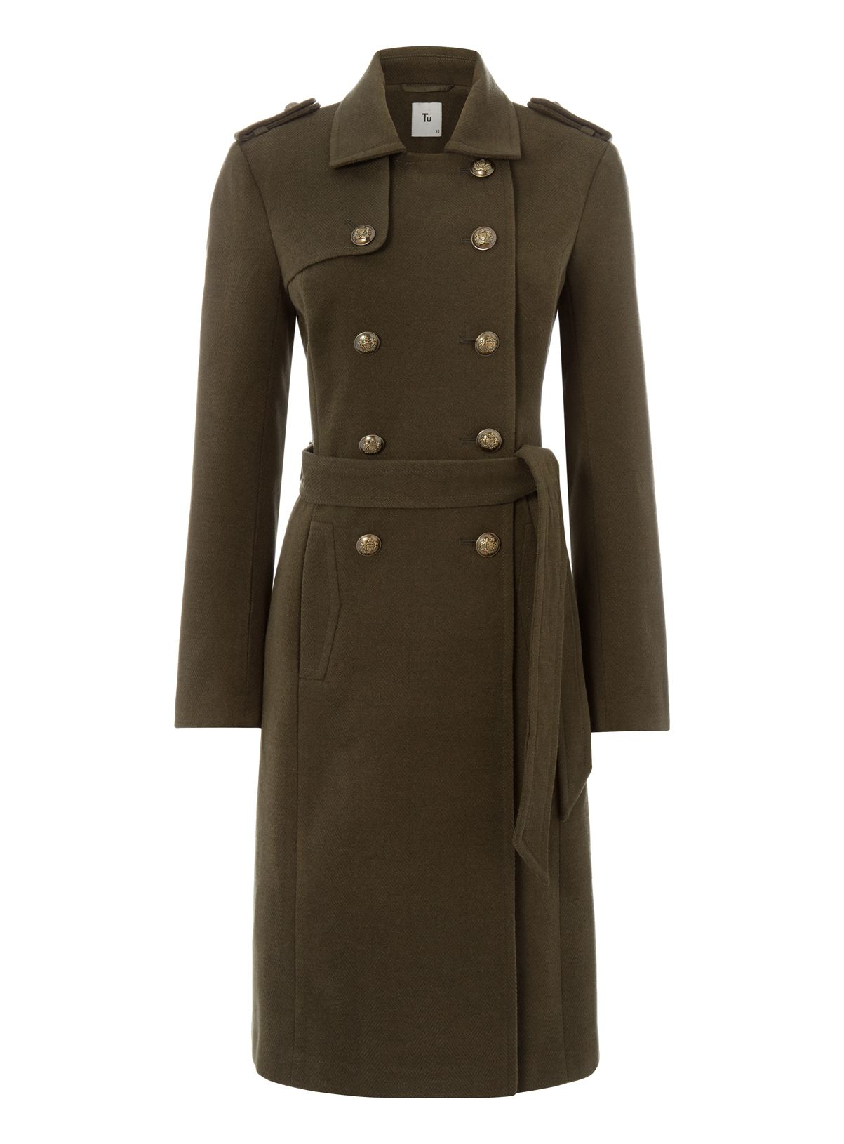 Womens Khaki Belted Military Coat | Tu clothing | Fashion ...