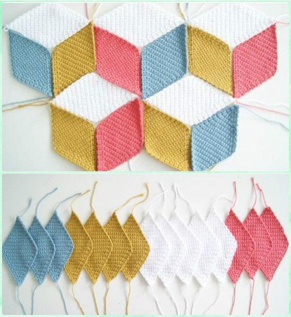 Ganchillo diamante 3D Manta libre del patrón de vídeo - Crochet ...